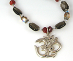 Smoky Quartz Carnelian Ohm Necklace